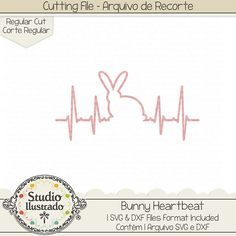 Bunny Heartbeat, Bunny, Heartbeat, Batida coração, coração, love, amor, Coelho, coelhinho, bunny, rabbit, farm, fazenda, farm animal, animal, pet, Happy easter, Feliz Páscoa, love, páscoa, easter, easter bunny, arquivo de recorte, corte regular, regular cut, svg, dxf, png, Studio Ilustrado, Silhouette, cutting file, cutting, cricut, scan n cut