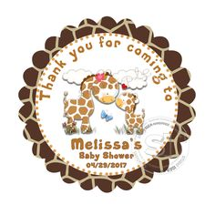 """Custom GiraffeThank you Tag- 2.5"""" Printable  Baby Shower Thank you Tags-Mother-to-be Giraffe theme Tags-Digital file by StudioIdea on Etsy"""