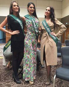Andrea Rosales Miss Venezuela posando junto a Miss Brazil y Miss Bosnia & Herzegovina  para los Fotografos, dentro de las Actividades del Miss Earth 2015,