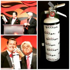 Jay Leno's Garage Fire Extinguisher wrap for Celebrity CPR Fire Extinguisher, Jay, Garage, Wraps, Celebrity, Christmas Ornaments, Holiday Decor, Carport Garage, Garages