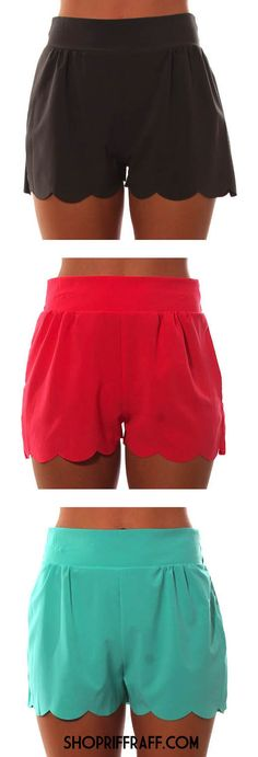THE BEST SHORTS EVER! We love these scalloped shorties in every color!! http://www.allaboutallaboutallabout.com/