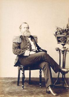"""""""Imperador do Brasil, D. Pedro II"""". (Aos 44 anos de Idade). Com Uniforme de 'Almirante'."""