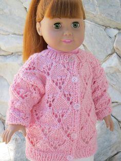 """2-pc. cardigan rose pour une poupée de 18 """"."""