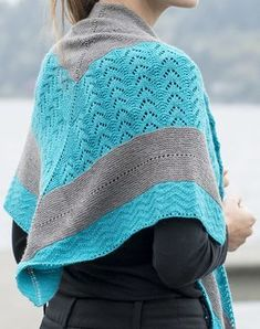 Free Knitting Pattern for By the Sea Shawl - Triangular shawl with with sections of wave lace stitch, surf chevron stitch, and garter stitch. Designed by Michael Harrigan for Cascade Yarns.