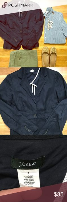 """J. Crew Navy Blazer Very gently used, just in need of a good steaming! Super comfy navy blazer from J. Crew. Size 8. Dress it up for work or wear casually with jeans.                                Shoulders- 17""""                                                                       Length (back)- 23""""                                                                     Length (front)- 25"""" J. Crew Jackets & Coats Blazers"""