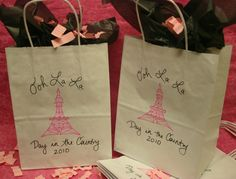 Set of 10 Paris Party Themed Favor  Bags  Eiffel Tower Party Decorations - Shopping Bags with Handle. $19.99, via Etsy.