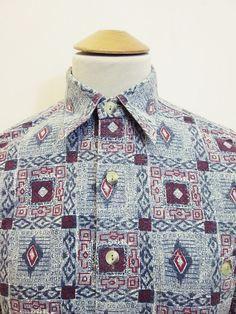 Vintage 90s Gen X-Y Fashion: Geometric Mod Party Pattern Shirt M