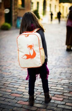 Orange Fox Grade School Backpack | SoYoung USA | - SoYoung | Eco-friendly bags and accessories for the modern family | Designed in Canada | #SOYOUNG S/S 2015