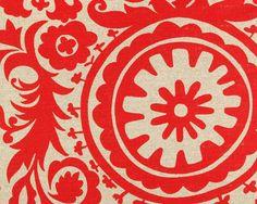 Suzani Fabric Cotton Printed Red Suzani Drapery or Upholstery Fabric | eBay