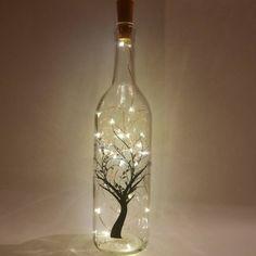 Wine bottle light, string light decor, fairy light bottle, lighted wine bottles, tree nightlight, le Cheese Trays, Wine Bottle Crafts, Bottle Design, Eye Glasses, Glasses, Eyeglasses, Eyewear
