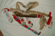 Mark Miller, Southern Plains style quiver and bow case. Lion hide, sinew beadwork