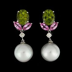 A pair of 12 mm cultured South sea pearl, pink sapphire, peridote and diamond earrings.