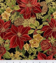 Holiday Inspirations Fabric Red Allover Poinsettia