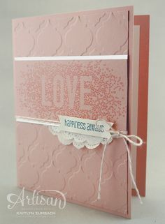 Create with Kaitlyn: Blushing Bride Love - Monday Montage | I love how soft and pretty this card is. Seasonally Scattered and And Many More stamp sets from Stampin' Up!