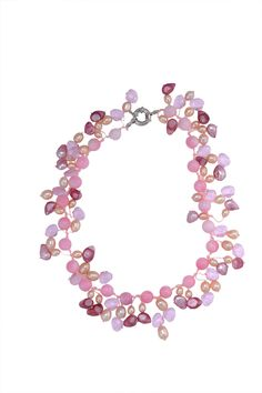 Handmade Freshwater Pearl with Pink & Purple Beads Short Necklace at Saintchristine.com
