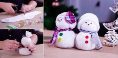 Réalisez de jolis bonhommes de neige juste avec des chaussettes !