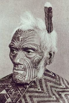 New Zealand | Maori warrior with moko face; Ta moko: traditional technique of body decoration (and different from tattoo) through marking skin by carving with a chisel (uhi); men usually received moko on faces, buttocks and thighs |  19th century | Photographer ? (Prismatic Pcitures)