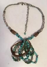 Silver tone necklace and pendant with genuine turquoise tubes and chi... Lot 263