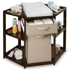 Badger Basket Diaper Corner Baby Changing Table with Hamper and Basket