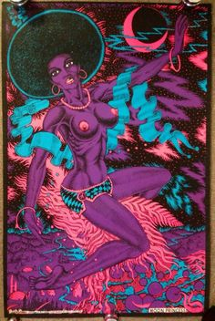 Original Vtg 1973 Black Light MOON PRINCESS Poster Nude African Sexy Afro Lykes