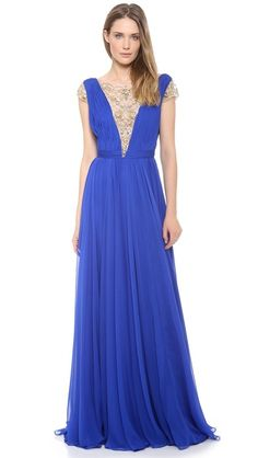 Reem Acra Silk Chiffon Illusion V Neck Gown | beautiful