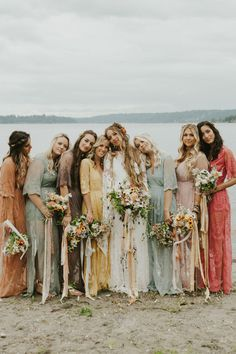Boho Wildflower Vibes at this Lakeside Wedding in Washington - Trend Camping Fashion 2020 Rainbow Bridesmaid Dresses, Mismatched Bridesmaid Dresses, Bridesmaid Dress Colors, Wedding Bridesmaid Dresses, Bridesmaids In Different Dresses, Hippy Wedding Dresses, Wedding Shoes, Rainbow Wedding Dress, Boho Bridesmaids