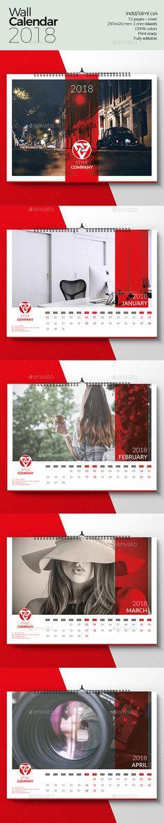 Wall Calendar 2018 Template InDesign INDD