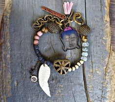 Protection bracelet, Yoga, Buddha bracelet, Angel wing Bracelet, Meditation , Ethnic,Bracelet Hippie. Rustic Bracelet.