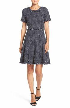 Main Image - Eliza J Tweed Fit & Flare Dress (Regular & Petite)