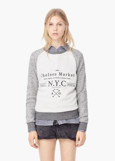 Message cotton sweatshirt - Cardigans and sweaters for Women   MANGO