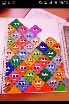 This cute pattern might work well in X-stitch Graph Paper Drawings, Graph Paper Art, Easy Drawings, Pixel Art, Pixel Drawing, Drawing Drawing, Drawing Ideas, Doodle Art, Beading Patterns