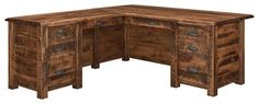 Amish El Paso L Desk A best selling Amish desk, the El Paso offers a fine corner fit. Lots of workspace and fine woodworking make for an attractive wood desk. File drawer, storage drawers, pencil drawer and writing pullout. Amish made in America. #desks #Amishdesk #Ldesk