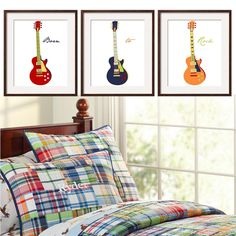 Guitar Prints Nursery -Toddler Wall Art in navy red orange yellow blue 3 pc 11x14 Matches Pottery Barn Madras bedding. By YassisPlace.. $68.95, via Etsy.