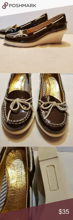 SPERRY brown wedges. Sz 7.5 Brown top-sider 2.5 inch wedge. EUC Sperry Shoes