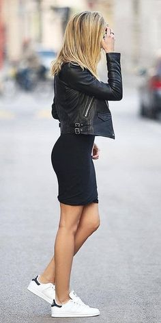 VISIT FOR MORE casual style addiction / moto jacket dress sneakers – Adidas White Sneakers – Latest and fashionable shoes – casual style addiction / moto jacket dress sneakers Mode Outfits, Casual Outfits, Clubbing Outfits, Biker Outfits, Club Outfits, Tomboy Outfits, Casual Dresses For Winter, Casual Black Dress Outfit, Black Pumps Outfit