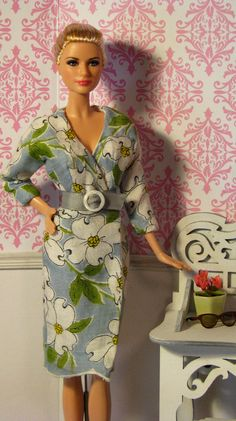 Wrap Barbie doll dress made from vintage linen hankie