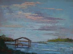 """Florida Landscape Paintng   Daily Painting   Small Oil Painting   Dance of the Wavesby Carol Schiff   6x8"""" Palette Knife Painting   SOLD"""