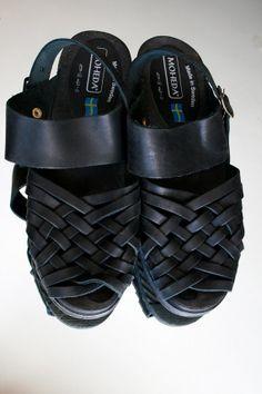 vintage wood clog shoes open heel wedge dark blue by lietas