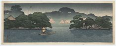 """""""Small Boat in a Spring Shower"""" by Hasui, Kawase"""