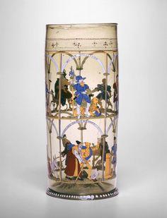Beaker, ca. 1600, blown glass with polychrome enamel, Czech Republic (Bohemian)