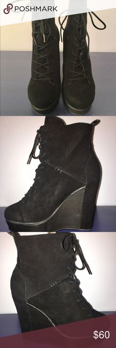 NEW Charlotte Ronson wedge booties size 7 1/2 Brand new in the box. Very light weight; Suede & leather upper, rubber outsole; heel height 5 inches; platform 1.5 inches (so it feels like you are wearing 3.5 inch heel). Charlotte Ronson Shoes Ankle Boots & Booties