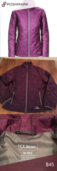 """LL Bean PrimaLoft Packaway Jacket Dark purple. You'll find yourself reaching for this toasty warm women's lightweight winter jacket all year-round. Perfect alone or as a layer, it stuffs into its own hand pocket for easy packing, just in case. Excellent condition. 20"""" across bust. 26"""" length.  Size & Fit Slightly Fitted. Best with lightweight layer. Falls at hip. L.L. Bean Jackets & Coats"""