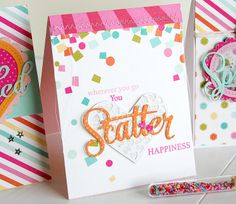 Scatter Happiness Card by Danielle Flanders for Papertrey Ink (April 2014)
