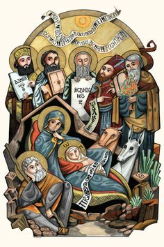 Nativity of Christ Copic Markers on paper 32 X 48 cm the Icon inspired from hymns and psalis of the Paramon and nativity feast