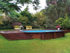 40 Amazing Wood Pool Decks For Above Ground Pool Ideas - 44 Pervect Wood Pool Decks For Above Ground Pool Ideas – Page 17 of 44 - Oberirdischer Pool, Swiming Pool, Above Ground Swimming Pools, Swimming Pools Backyard, In Ground Pools, Semi Inground Pool Deck, Pool Fun, Pool Water, Above Ground Pool Landscaping