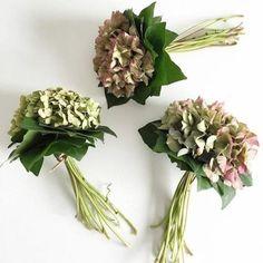 Gedroogde hortensia boeketjes .... leuk voor in een vaas of mooie schaal .... nodig : hortensia bloemen - bladgroen -binddraad- mesje
