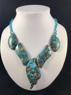 Blue Jasper Necklace, Variscite Necklace, Ocean Blue Jasper Necklace, Statement Necklace, Gemstone Necklace, Jasper Necklace, Gemstone Gift by TreasureMyIsland on Etsy