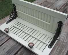 Wall shelf made from vintage window shutter by TheHappieHippie, $55.00