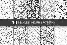 Memphis seamless patterns - swatches by ExpressShop on @creativemarket