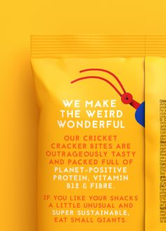Small Giants Brand / Packaging Design / Insect Snacks / Crickets / Illustration / Sustainable / Taboo / Crackers Brand Packaging, Packaging Design, Branding Design, Cracker Brands, Cricket Flour, Branding Agency, Design Agency, Crackers, Insects